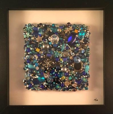 Blue Beaded Square Framed - Sold