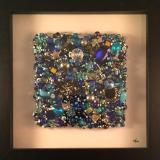 Blue Beaded Square Framed - Sold