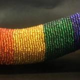 Rainbow Beaded Phallus - Side