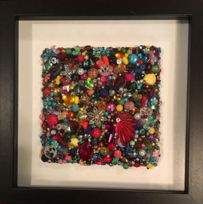 Untitled Beaded Square I - Framed
