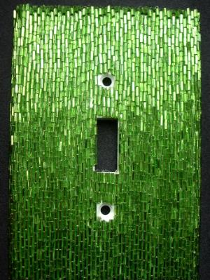 Green Bugle Beaded Light Switch Cover - Sold