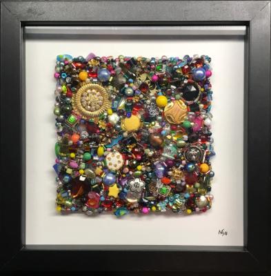 Untitled Beaded Square IV - Framed