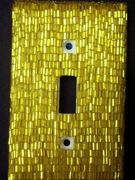 Yellow Bugle Beaded Light Switch Cover - Sold
